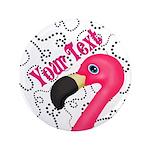 Pink Flamingo Black Button