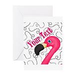 Pink Flamingo Black Greeting Cards