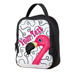 Pink Flamingo Black Neoprene Lunch Bag
