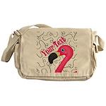 Pink Flamingo Black Messenger Bag