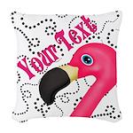 Pink Flamingo Black Woven Throw Pillow