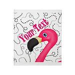 Pink Flamingo Black Throw Blanket
