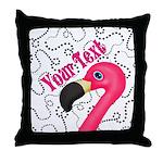 Pink Flamingo Black Throw Pillow