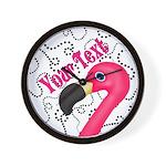 Pink Flamingo Black Wall Clock