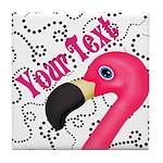 Pink Flamingo Black Tile Coaster