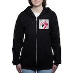 Pink Flamingo Black Women's Zip Hoodie
