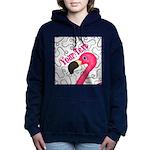 Pink Flamingo Black Women's Hooded Sweatshirt