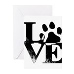 Love Dogs Paw Print Greeting Cards