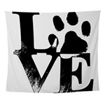 Love Dogs Paw Print Wall Tapestry