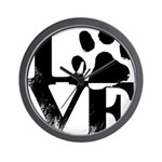 Love Dogs Paw Print Wall Clock