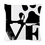 Love Dogs Paw Print Woven Throw Pillow