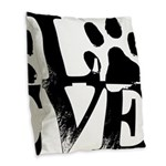 Love Dogs Paw Print Burlap Throw Pillow