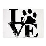 Love Dogs Paw Print 5'x7'Area Rug