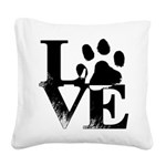 Love Dogs Paw Print Square Canvas Pillow