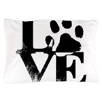 Love Dogs Paw Print Pillow Case