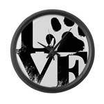 Love Dogs Paw Print Large Wall Clock