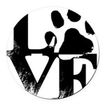 Love Dogs Paw Print Round Car Magnet