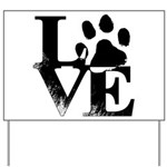 Love Dogs Paw Print Yard Sign