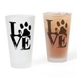Love Dogs Paw Print Drinking Glass