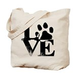 Love Dogs Paw Print Tote Bag