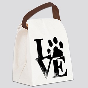 Love Dogs Paw Print Canvas Lunch Bag