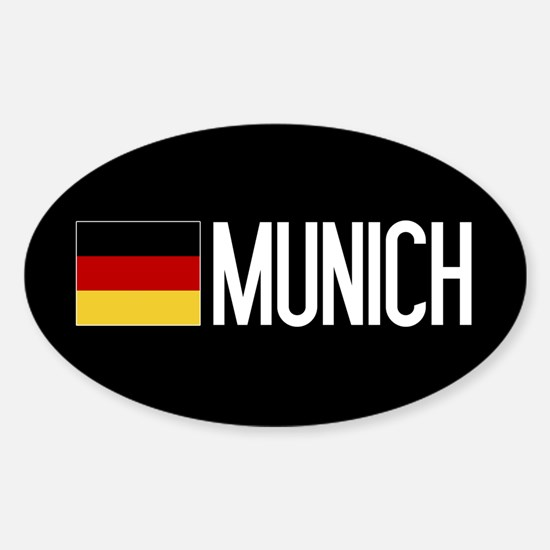 Germany: German Flag & Munich Sticker (Oval)