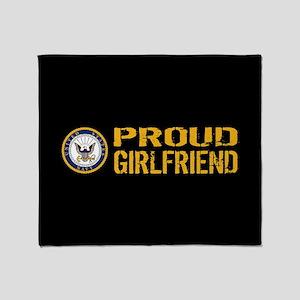 U.S. Navy: Proud Girlfriend (Black) Throw Blanket