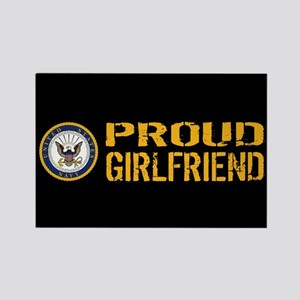 U.S. Navy: Proud Girlfriend (Blac Rectangle Magnet