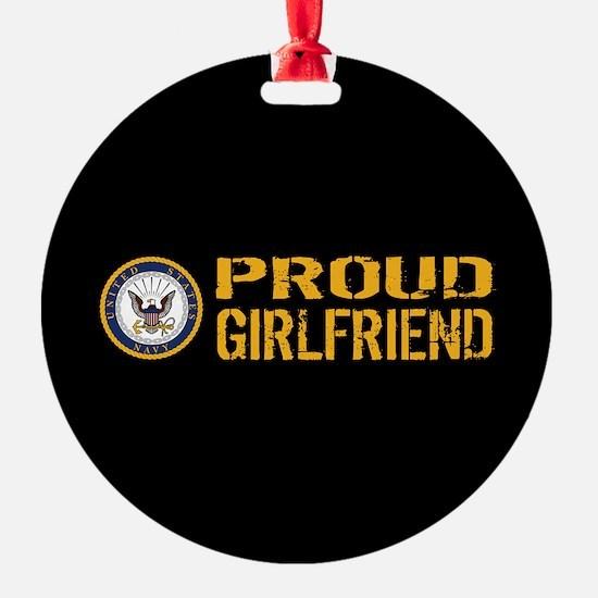 U.S. Navy: Proud Girlfriend (Black) Ornament