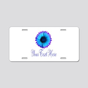 Fantasy Flower Blue Purple Aluminum License Plate
