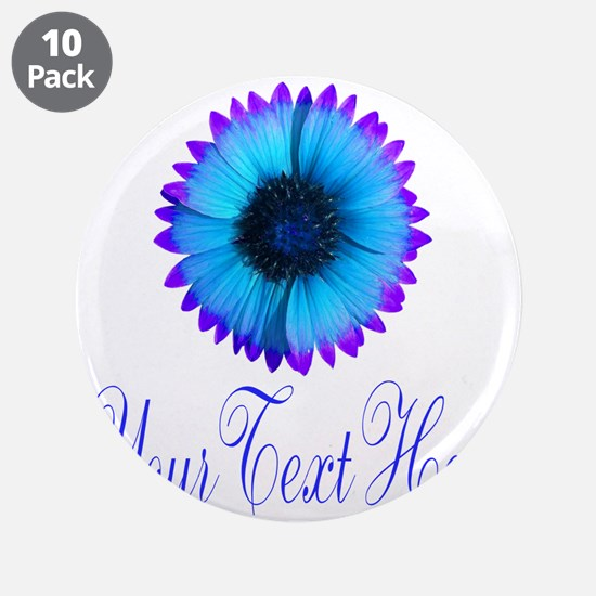 "Fantasy Flower Blue Purple 3.5"" Button (10 pack)"