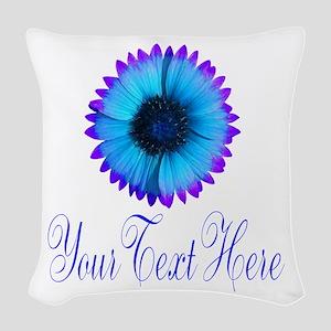 Fantasy Flower Blue Purple Woven Throw Pillow