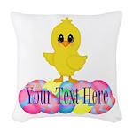 Easter Chick Custom Woven Throw Pillow