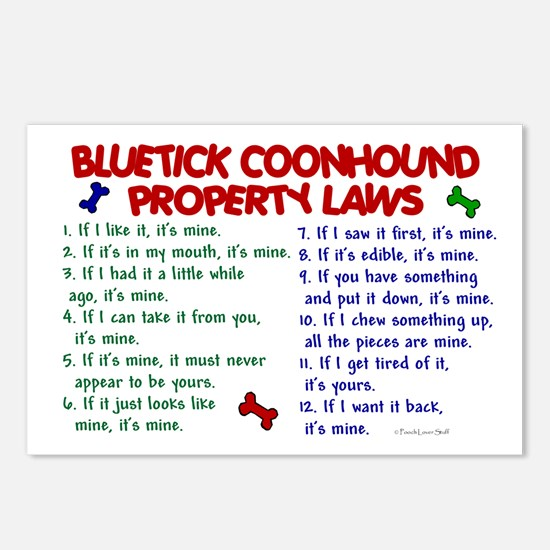 Bluetick Coonhound Property Laws 2 Postcards (Pack