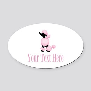 French Poodle Pink Oval Car Magnet