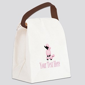 French Poodle Pink Canvas Lunch Bag