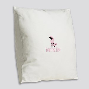 French Poodle Pink Burlap Throw Pillow