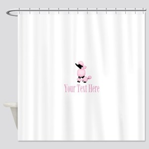 French Poodle Pink Shower Curtain