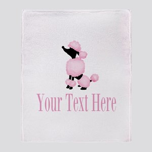 French Poodle Pink Throw Blanket
