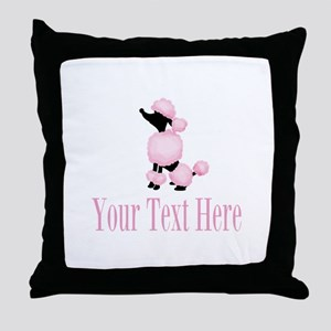 French Poodle Pink Throw Pillow