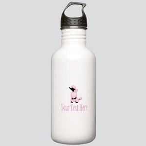 French Poodle Pink Water Bottle