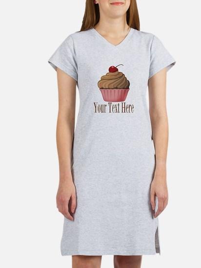 Pink Brown Cupcake Women's Nightshirt