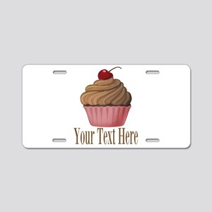 Pink Brown Cupcake Aluminum License Plate