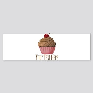 Pink Brown Cupcake Bumper Sticker