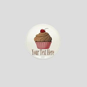 Pink Brown Cupcake Mini Button