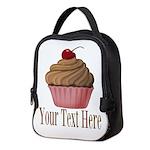 Pink Brown Cupcake Neoprene Lunch Bag
