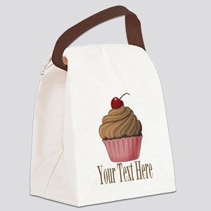 Pink Brown Cupcake Canvas Lunch Bag