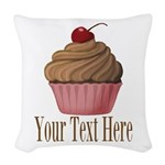 Pink Brown Cupcake Woven Throw Pillow