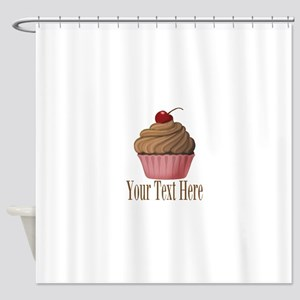 Pink Brown Cupcake Shower Curtain