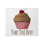 Pink Brown Cupcake Throw Blanket